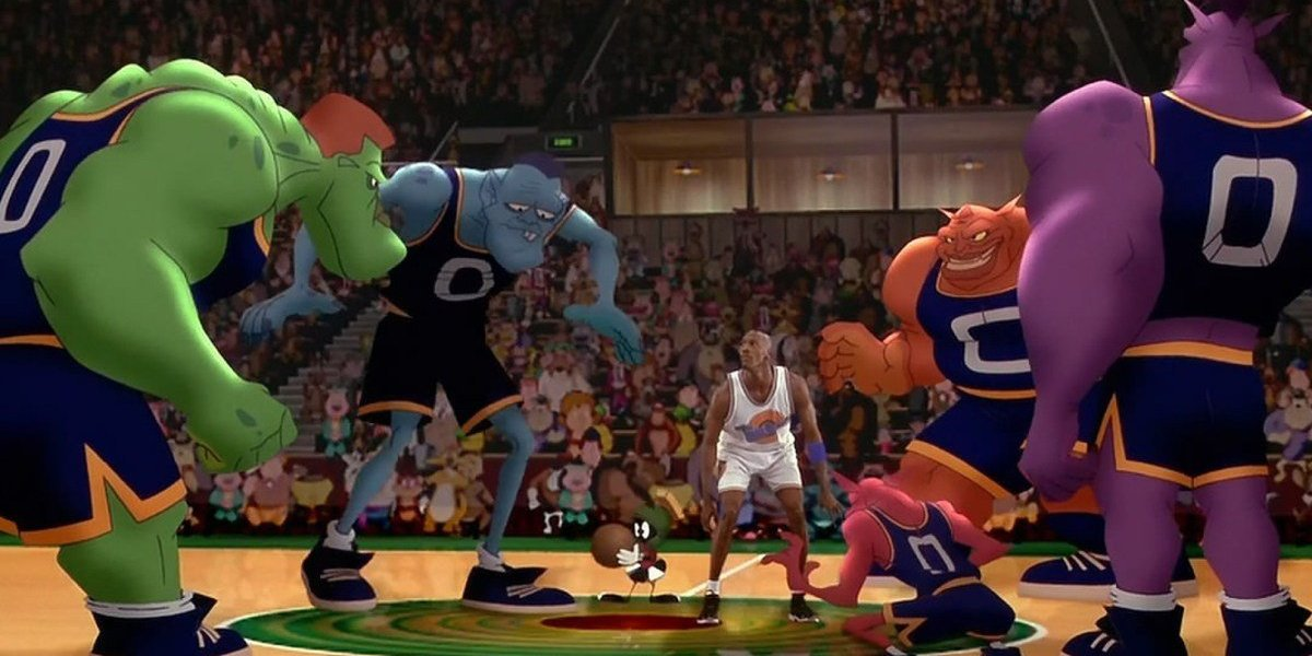 Michael Jordan, center with referee Martin Martian, faces off against the Monstars in Space Jam