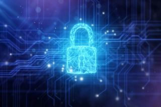 Image of padlock against circuit board/cybersecurity background