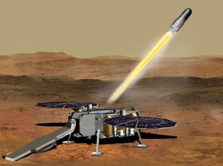 An artist's depiction of a rocket blasting carefully packed Mars samples off the planet's surface for the journey to Earth.