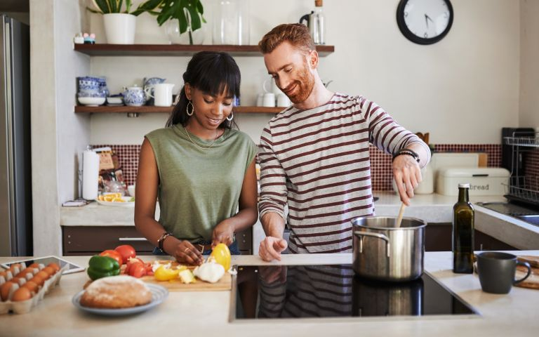 Couple preparing a vegan meal