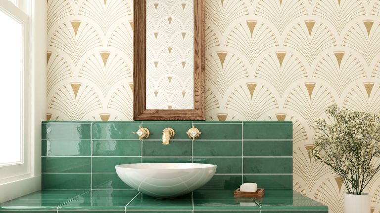 green bathroom with wallpaper