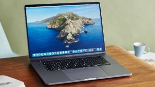 MacBook Pro 16-inch 2019 open and sat on a table.