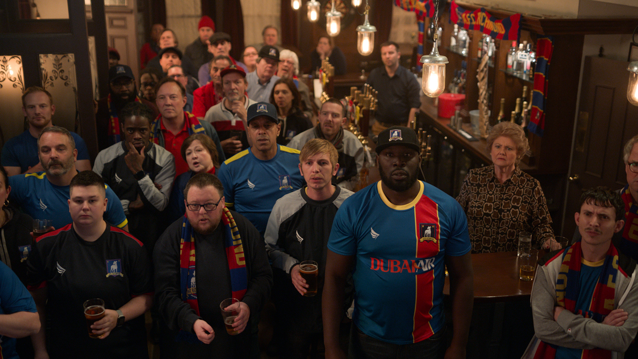 Ted Lasso's AFC Richmond faithful watch on with bated breath in a nearby pub