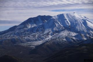 Mount St. Helens, as viewed from Elk Rock, in Washington state.