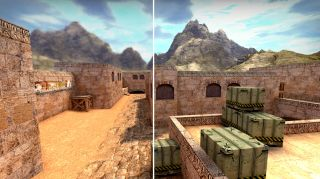 Dust 2 side-by-side CS:GO upscale