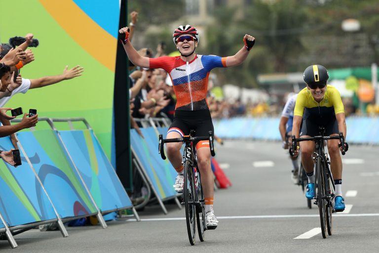 Anna van der Breggen winning gold at the Rio Olympics in 2016