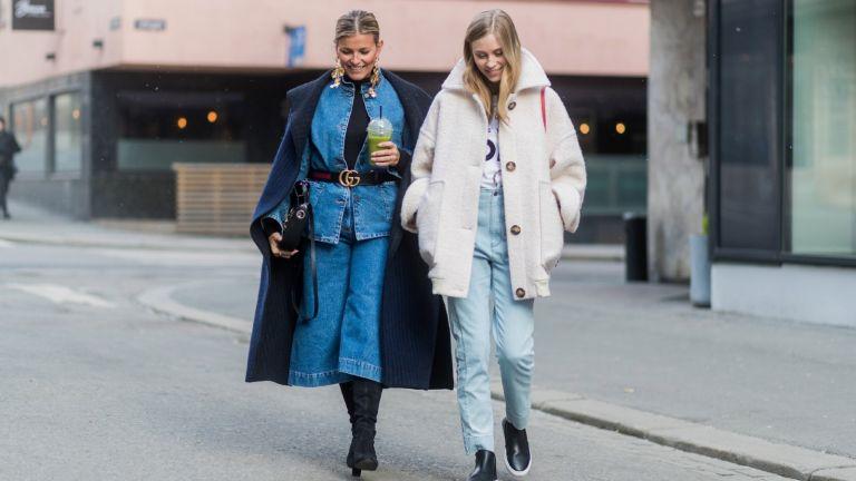 street style models wearing flattering jeans