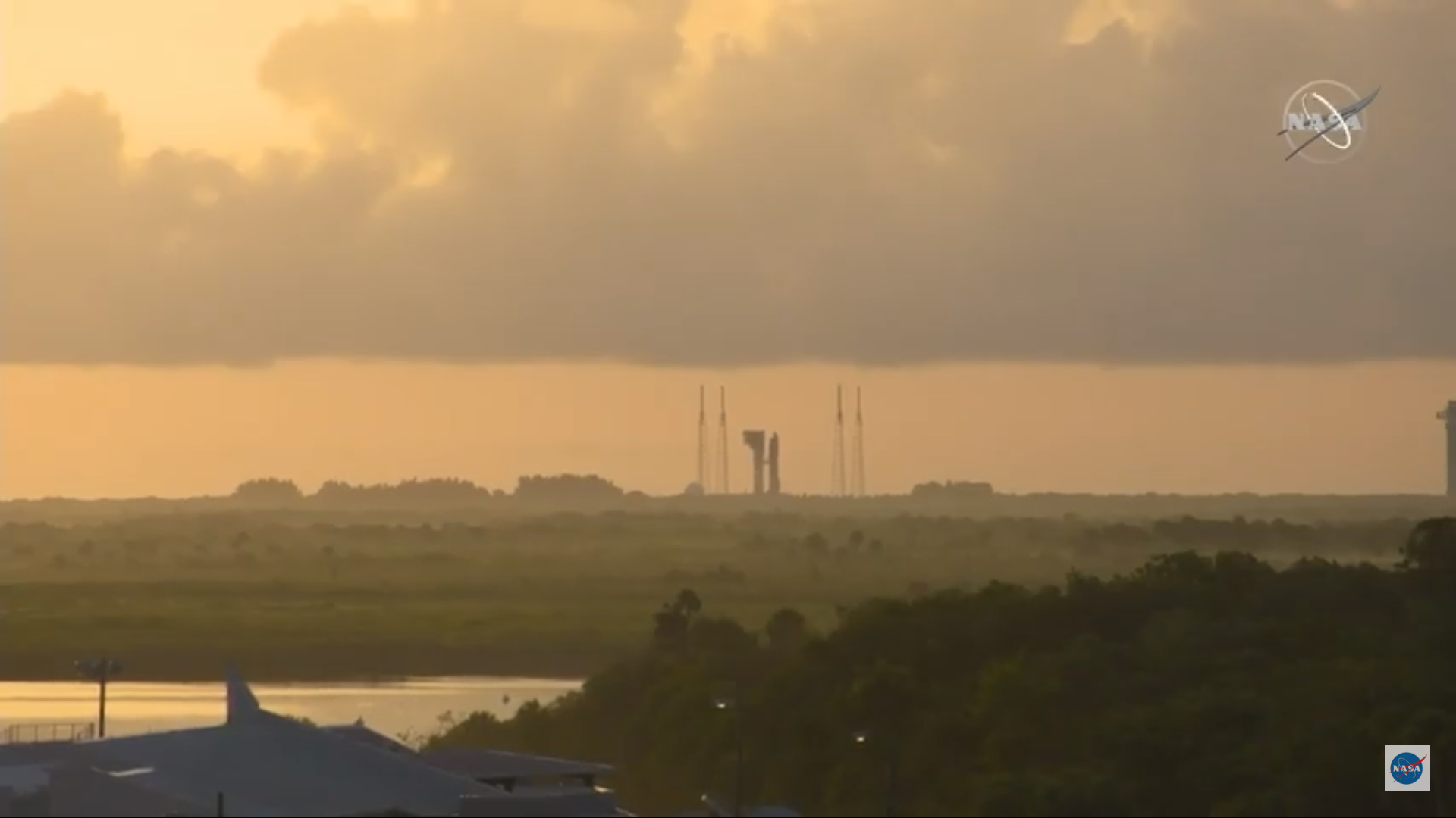 A view of the Atlas V rocket on the launch pad before blast off on July 30, 2020.