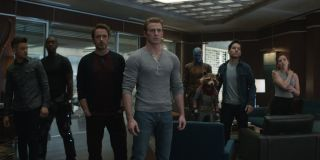 Avengers: Endgame the Avengers lined up in an office