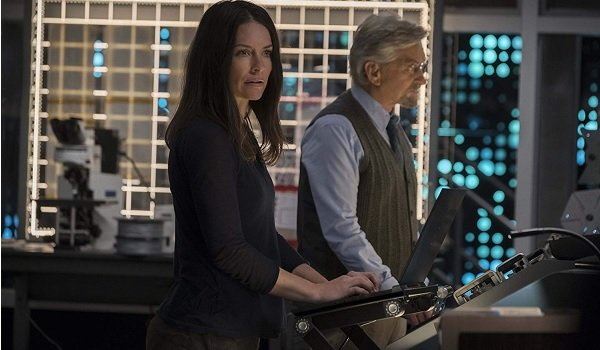 Ant-Man and The Wasp Evangeline Lily Michael Douglas Hope and Hank working away at quantum physics