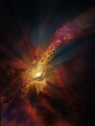 An artist's illustration shows what galactic wind might have looked like flowing out of a galaxy in the early universe.
