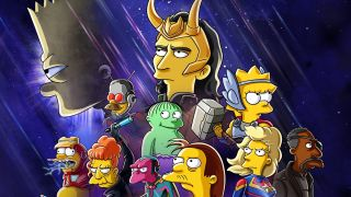Poster art for The Good, The Bart, and The Loki Logos and Key Art. Featuring Simpsons characters dressed up as The Avengers.