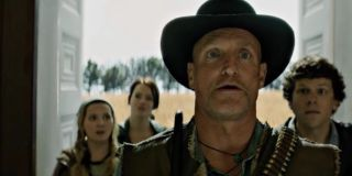 Woody Harrelson and the cast of _Zombieland._
