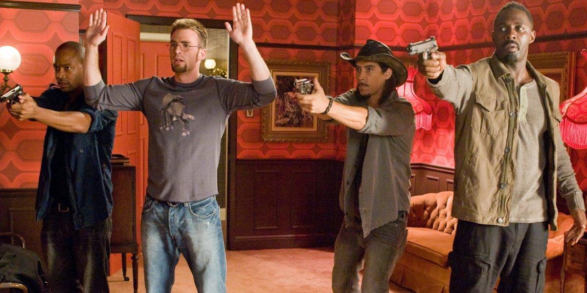Columbus Short, Chris Evans, Oscar Jaenada, and Idris Elba in The Losers