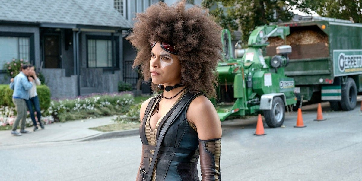 Zazie Beetz as Domino in front of wood chipper in Deadpool 2