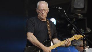 David Gilmour performing live onstage in Koenigsplatz, Munich