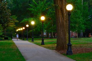 A walkway on a college campus