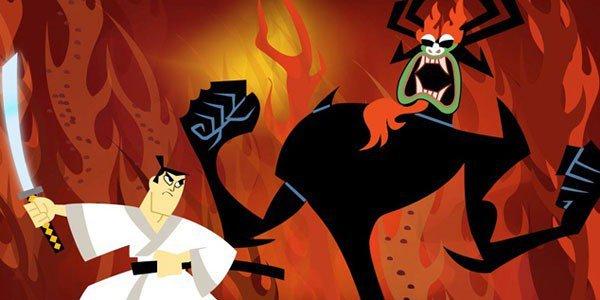 Samurai Jack against the evil Aku