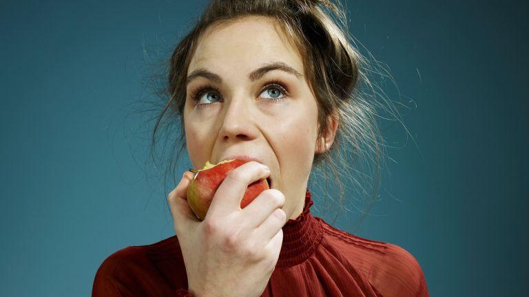 Healthy eating an apple
