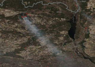 A wildfire burning in the Chernobyl Exclusion Zone, as imaged on April 5, 2020, by the NOAA-NASA Suomi NPP satellite.