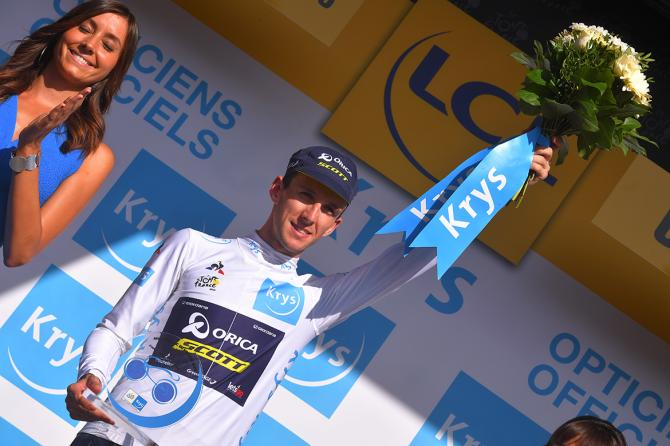 Simon Yates in white at the Tour de France