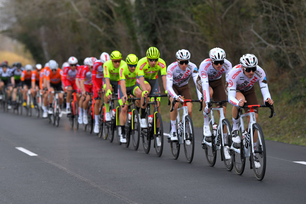 BELLEGARDE FRANCE FEBRUARY 03 Alexis Gougeard of France Lawrence Naesen of Belgium and AG2R Citroen Team during the 51st toile de Bessges Tour du Gard 2021 Stage 1 a 14355km stage from Bellegarde to Bellegarde 57m Peloton EDB2020 on February 03 2021 in Bellegarde France Photo by Luc ClaessenGetty Images