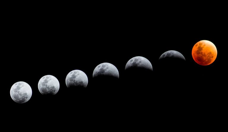 Low Angle View Of Lunar Eclipse, Moon Phases