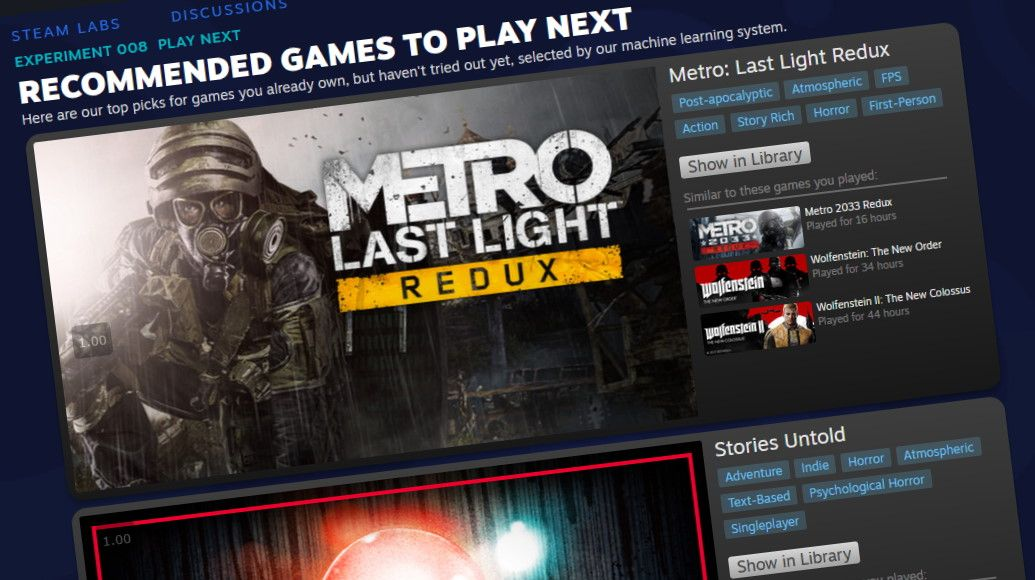 Steam Labs' new experiment will help you decide what to play next