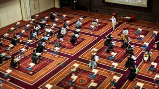 A de-densified ballroom in BU's George Sherman Union