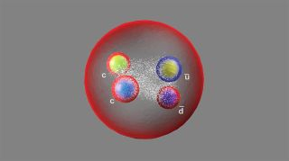 An artist's drawing of the new particle, called Tcc+, which is made up of two charm quarks, an up antiquark and a down antiquark.