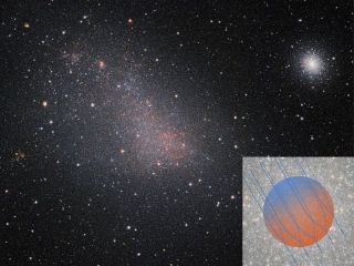 The globular cluster 47 Tucanae is located in the upper right, next to the Small Magellanic Cloud. The inset image represents the magnetic field as it's affected by the galactic wind.