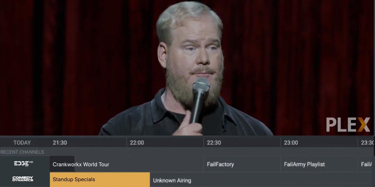 Jim Gaffigan performing standup on Live TV On Plex