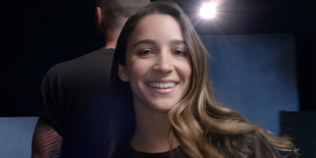 aly raisman in Maroon 5 video and in Charlie's Angels
