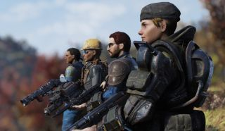 A row of post-apocalyptic soldiers