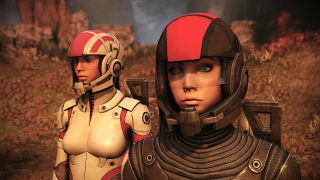 Two women in sci-fi armor stand on an alien planet: it's a Mass Effect 1 remaster screenshot.