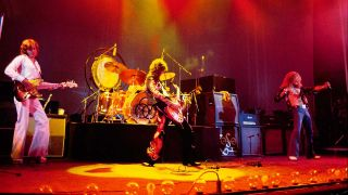 Led Zeppelin onstage at Earls Court in 1975