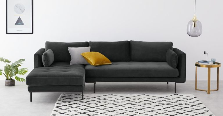 Harlow Left Hand Facing Chaise End Corner Sofa, Midnight Grey Velvet in the Made sale