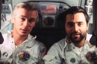 Gene Cernan (left) and Harrison Schmitt