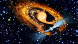 An artist's impression of a millisecond pulsar and its stellar companion.