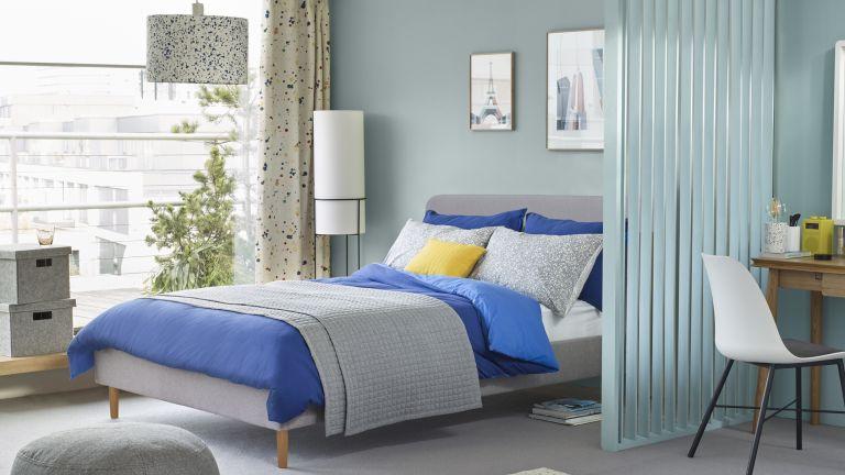 John Lewis Bonn Bed Frame £299, Pebble Pouffe £60, Terazzo Lampshade £25