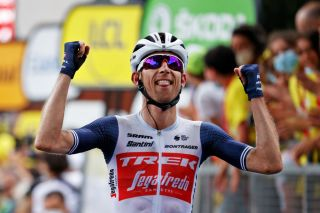 QUILLAN FRANCE JULY 10 Bauke Mollema of The Netherlands and Team Trek Segafredo celebrates at arrival during the 108th Tour de France 2021 Stage 14 a 1837km stage from Carcassonne to Quillan LeTour TDF2021 on July 10 2021 in Quillan France Photo by Chris GraythenGetty Images