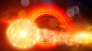 A supermassive black hole partially consumes an orbiting giant star. In this illustration, the gas pulled from the star collides with the black hole's debris disk and causes a flare.