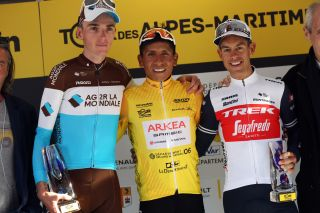 Nairo Quintana (Arkéa-Samsic) wins the overall classification at the 2020 Tour des Alpes Maritimes et du Var ahead of Romain Bardet (AG2R La Mondiale) and Richie Porte (Trek-Segafredo)