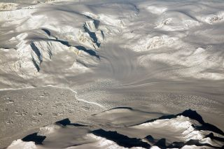A view of glaciers and mountains covering West Antarctica, as captured from above on Oct. 29, 2014.