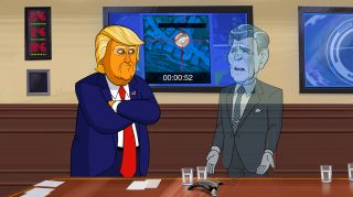 Cartoon President Donald J. Trump talks to Cartoon Ronald Reagan on Showtime's Our Cartoon President