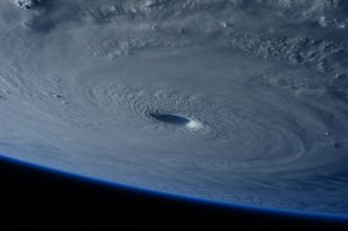 The eye of Super Typhoon Maysak looms large in an image taken by European Space Agency astronaut Samantha Cristoforetti on board the International Space Station August 7, 2017.
