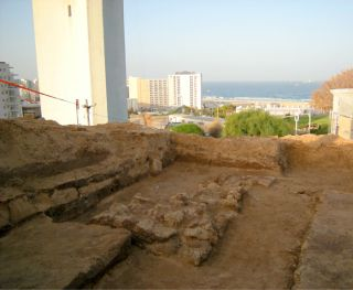 Hill of Jonah excavation, Above, the excavation on top of the Hill of Jonah where the prophet, who was swallowed by a whale or fish, is believed by some to have been buried. It uncovered thick stone walls, in the center, believed to belong to a fortress o