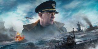 Greyhound Tom Hanks' image floating over seabound warfare