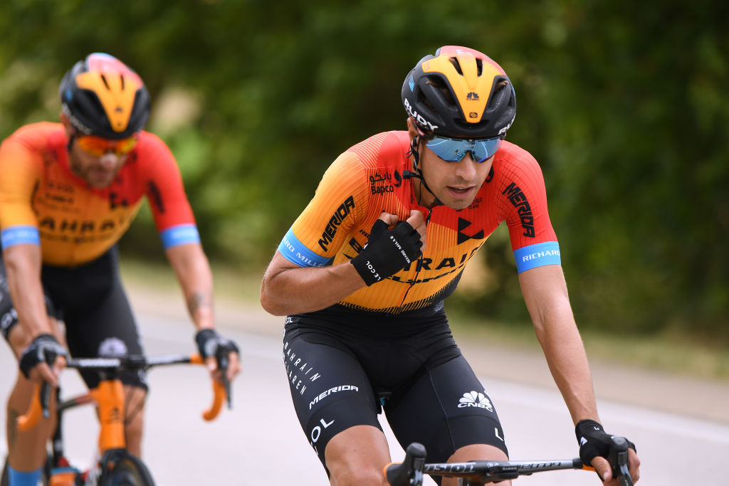 BURGOS SPAIN JULY 28 Mikel Landa Meana of Spain and Team Bahrain McLaren during the 42nd Vuelta a Burgos 2020 Stage 1 a 157km stage from Burgos to Burgos Alto del Castillo 976m VueltaBurgos on July 28 2020 in Burgos Spain Photo by David RamosGetty Images