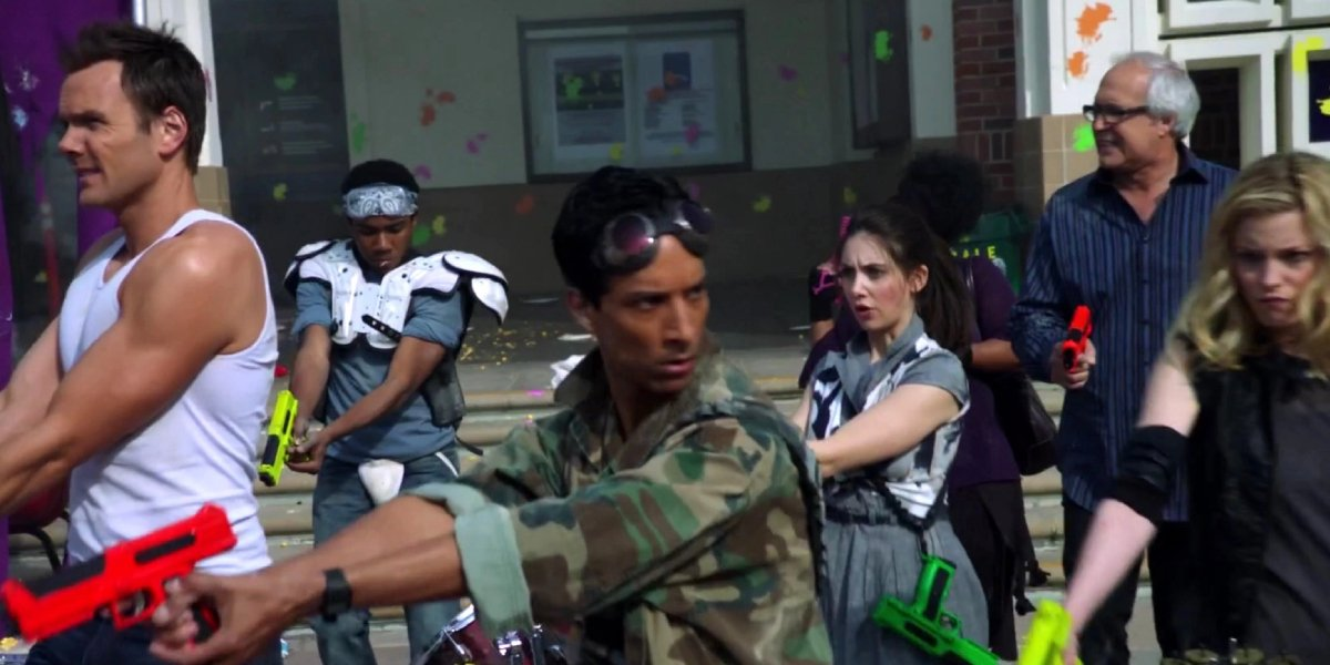 """The cast of Community from the iconic episode, """"Modern Warfare"""""""